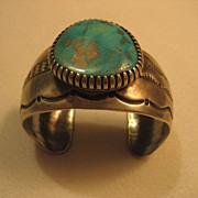 Navajo Sterling Silver & Blue Gem Turquoise Bracelet