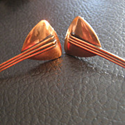 Renoir Vintage Copper Mandolin Earrings