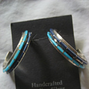 Sterling Silver Inlay Two Row Hoop Earrings