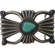 Sterling Silver & Turquoise Sand Cast Belt Buckle
