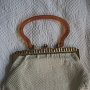 Whiting & Davis Mesh Handbag With Lucite Handles