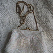 Beaded Evening Bag & Clutch Vintage Pink & White