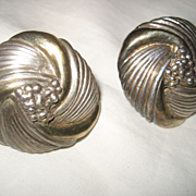 Sterling Silver Vintage Floral Clip Earrings
