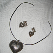 Sterling Silver Collar With Etched Heart Pendant + Earrings