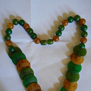 Bakelite Vintage Disc+Bead Necklace