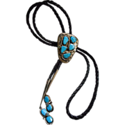 Sterling Silver & Turquoise Vintage Zuni Bolo Tie