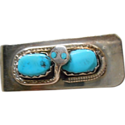 Sterling Silver & Turquoise Zuni Money Clip