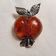 Sterling Silver Amber Apple Pin