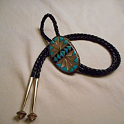 Sterling Silver Turquoise Mother Of Pearl Inlay Bolo Tie