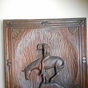 Wooden Carved Indian On Horse