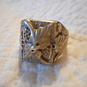 Sterling Silver Applied Leaf Ring