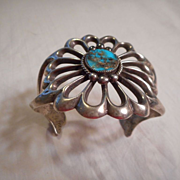 Sterling Silver Turquoise Sandcast Signed Vintage Bracelet