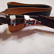 Sterling Silver Inlay Ranger Set on Leather Belt