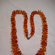Amber Nugget Sterling Silver Necklace