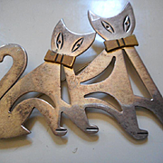 Sterling Silver Taxco Cat Pin