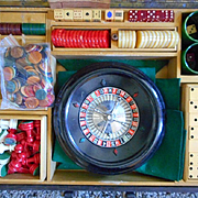 Bakelite Backgammon Domino Roulette Set In Case