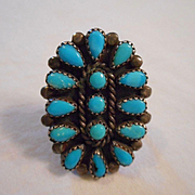 Sterling Silver Turquoise Cluster Ring