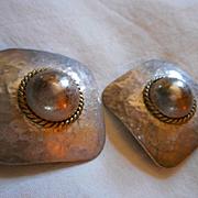 Sterling Silver Two Tone Earrings