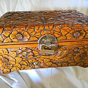Wooden Hand Carved Large Vintage Box
