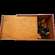 Chess Hard Wood Vintage Set In Box