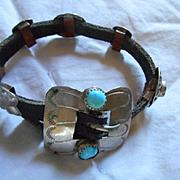 Concho Belt Turquoise & Nickel Silver Vintage Bracelet