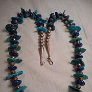 Sterling Silver Santa Domingo Turquoise & Lapis Necklace