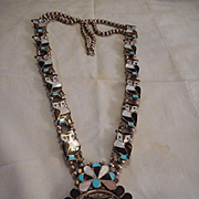 Sterling Silver & Inlay Owl Squash Blossom Vintage Zuni Necklace