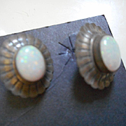 SOLD Sterling Silver & Opal Vintage Earrings