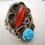 Sterling Silver Coral & Turquoise Vintage Ring