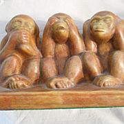 SALE Hear No Evil See No Evil Ceramic Monkeys