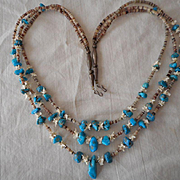 Sterling Silver Heishi Turquoise Nugget Three Strand Necklace