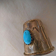 Sterling Silver Turquoise Thimble