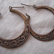 Sterling Silver Scroll Hoop Earrings