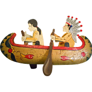 SOLD Authentic Model Indians In Canoe Balance Art