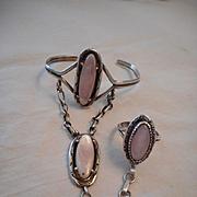 Sterling Silver Mother Of Pearl Vintage Slave Bracelet & Ring