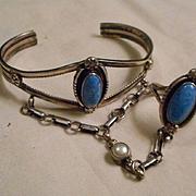 Sterling Silver Lapis Vintage Slave Bracelet