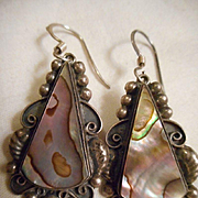Sterling Silver Abalone Vintage Earrings