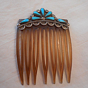 Sterling Silver Turquoise Vintage Hair Comb