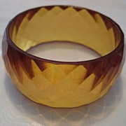 Bakelite Faceted Honey Vintage Bracelet