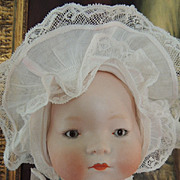 Recknagel #126 Antique German Bisque Doll, 16 IN, Amazing Antique Costume!