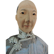 "Door of Hope Doll, Aged Woman 11"" All Original Chinese Doll, Carved Chignon"