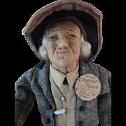 SOLD Bernard Ravca Doll France Tags, Ca. 1939, Stockinette Doll All Original w Stick