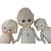 SOLD Antique All Bisque Doll Group of 3, Japan, 8 In, 5 3/4, 6 1/4 Inches