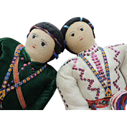 "Vintage Cloth Dolls, 26"" PAIR, Hand Painted Faces Bead Decoration, All Original"