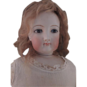 FG French Fashion Doll, 22 IN, Antique French Bisque Doll Size 6, Antique Wig