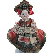 """Antique All Bisque German Doll #161 All Original, 5 1/2"""", Jointed Hips Shoulders"""
