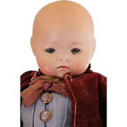 SOLD Recknagel #127 Antique German Bisque Doll, 9 IN, Boy Baby Doll, Sleep Eyes