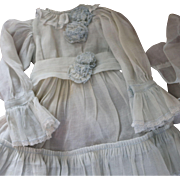 SOLD Doll Dress for Antique Doll, Cotton Organza Dress, Paris Find! 18 - 21 IN Doll