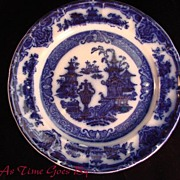 SALE Victorian Flow Blue Staffordshire Plate - The Temple - Podmore Walker & Co