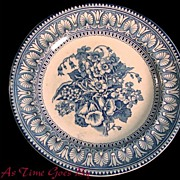 SALE J.F.W. Foley Potteries Blue and White Staffordshire Plate - Floral